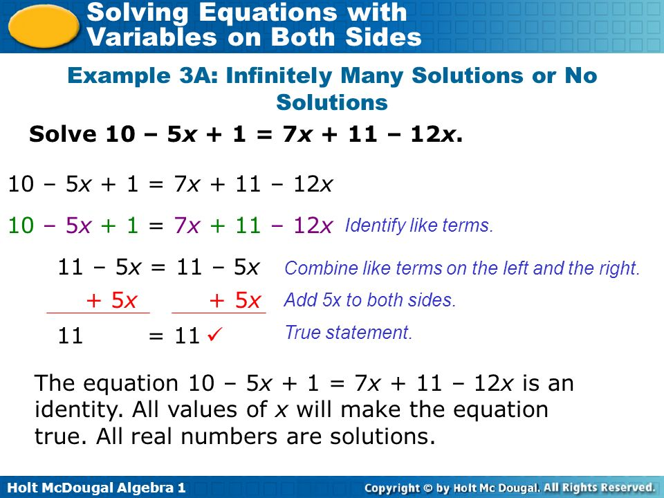 Example 3A: Infinitely Many Solutions or No Solutions