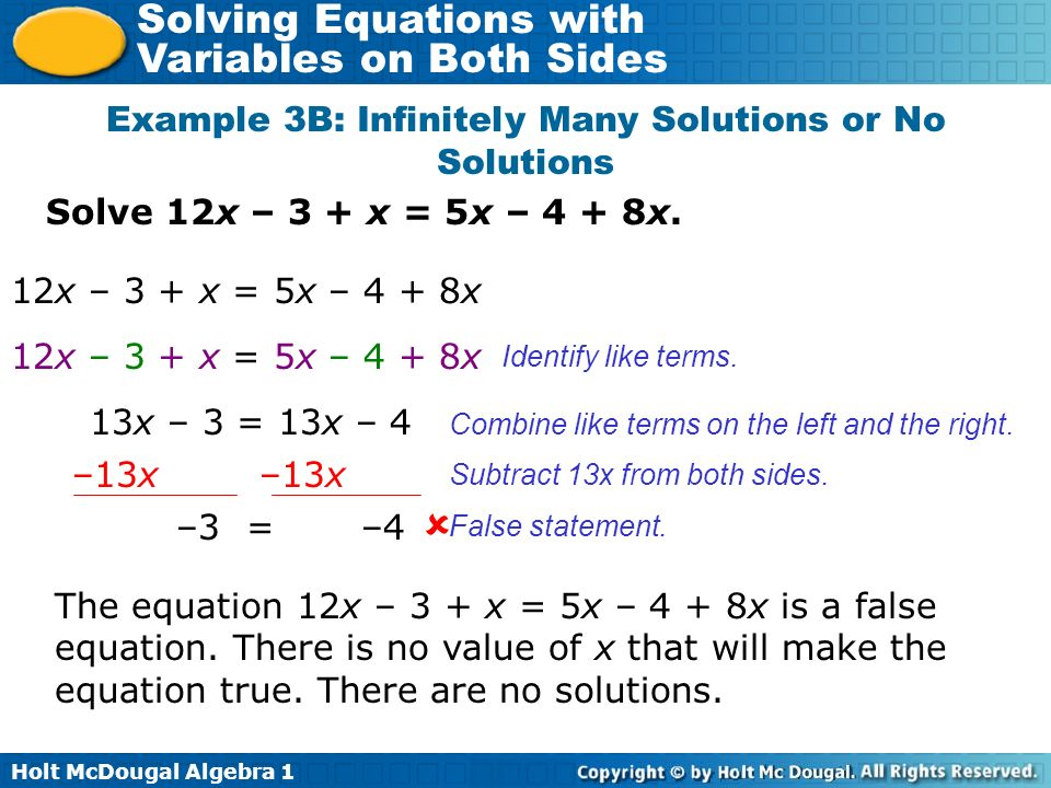 Example 3B: Infinitely Many Solutions or No Solutions