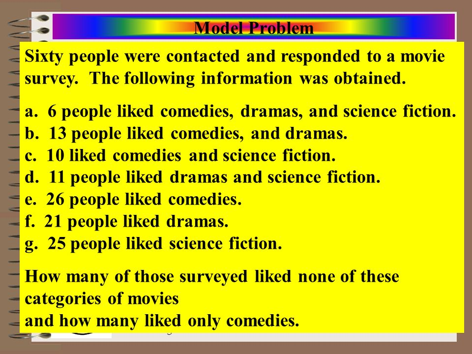Model Problem Sixty people were contacted and responded to a movie survey. The following information was obtained.