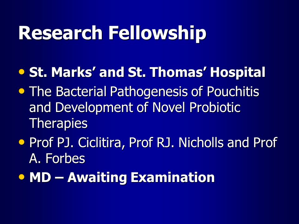 Research Fellowship St. Marks' and St. Thomas' Hospital