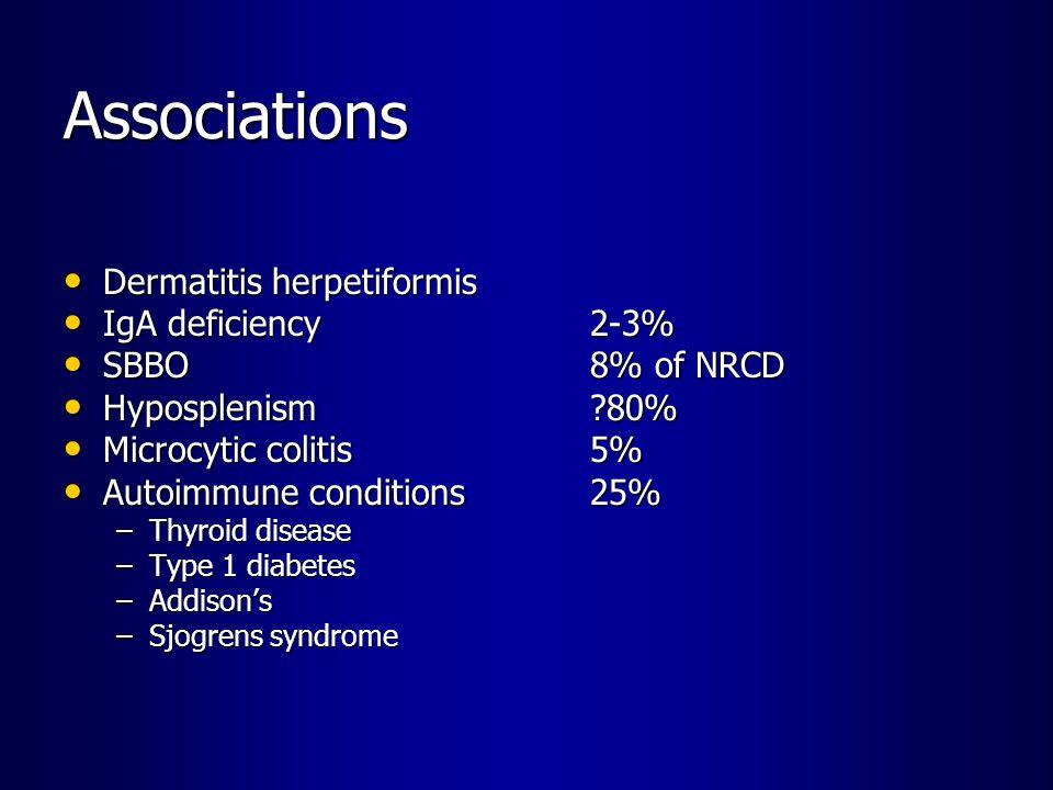 Associations Dermatitis herpetiformis IgA deficiency 2-3%