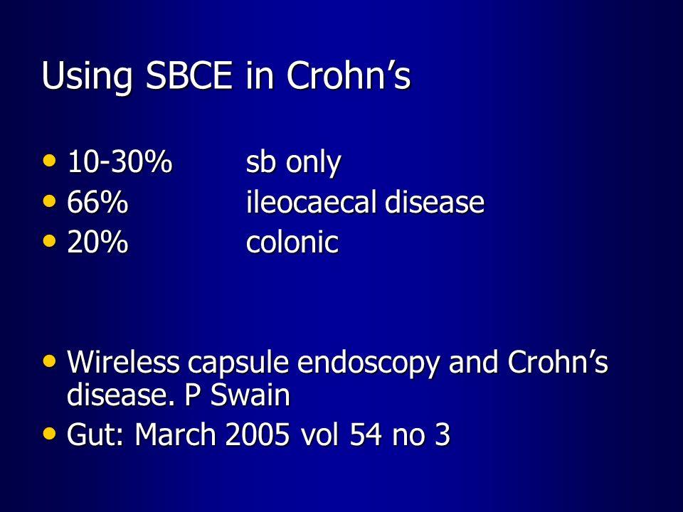 Using SBCE in Crohn's 10-30% sb only 66% ileocaecal disease