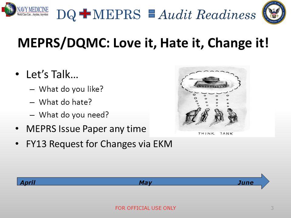 MEPRS/DQMC: Love it, Hate it, Change it!