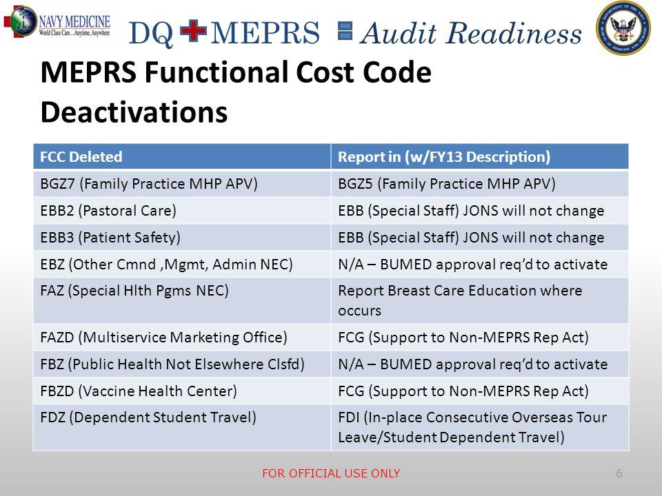 MEPRS Functional Cost Code Deactivations