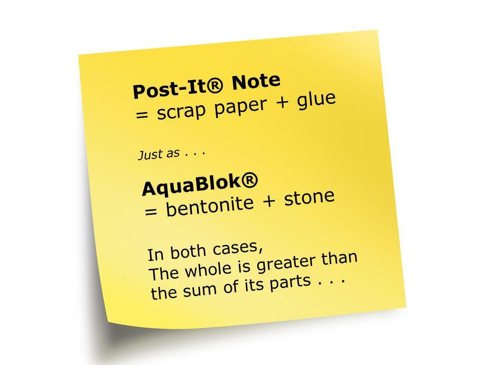 Post-It Post-It® Note = scrap paper + glue AquaBlok®