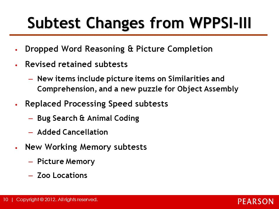 Subtest Changes from WPPSI-III