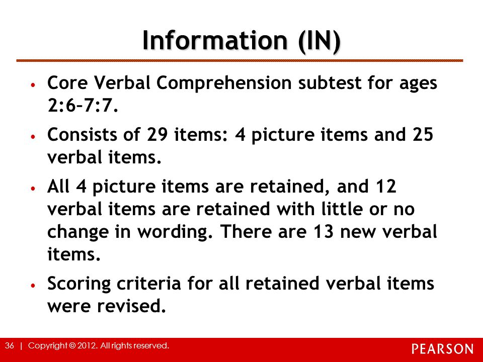 Information (IN) Core Verbal Comprehension subtest for ages 2:6–7:7.