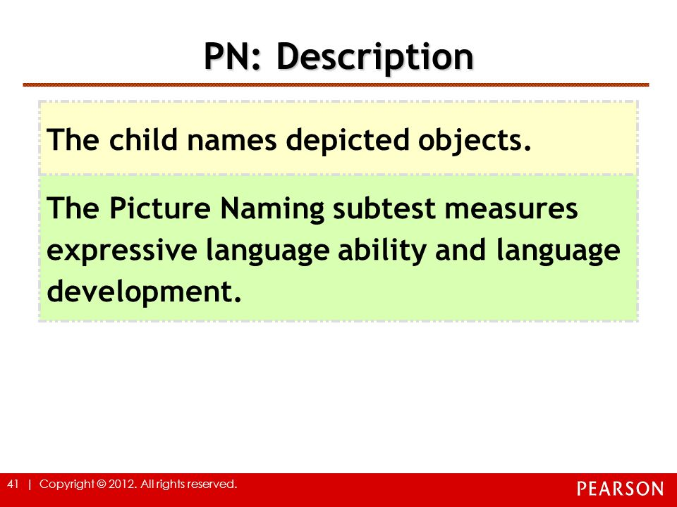 PN: Description The child names depicted objects.