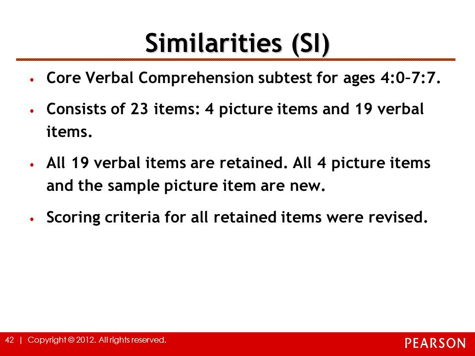 Similarities (SI) Core Verbal Comprehension subtest for ages 4:0–7:7.