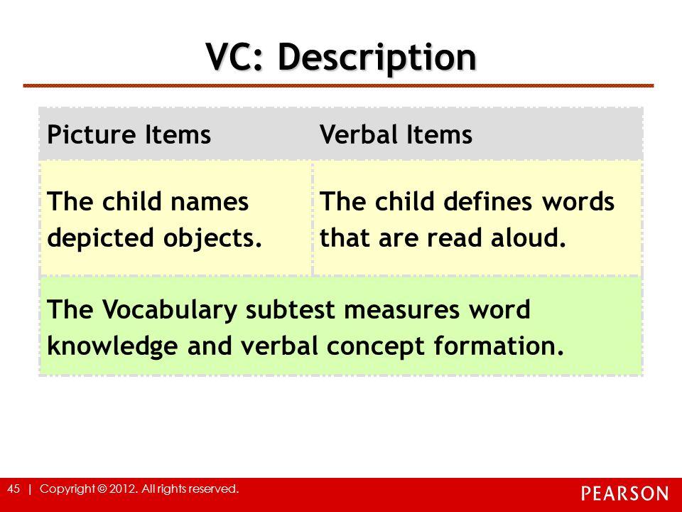 VC: Description Picture Items Verbal Items