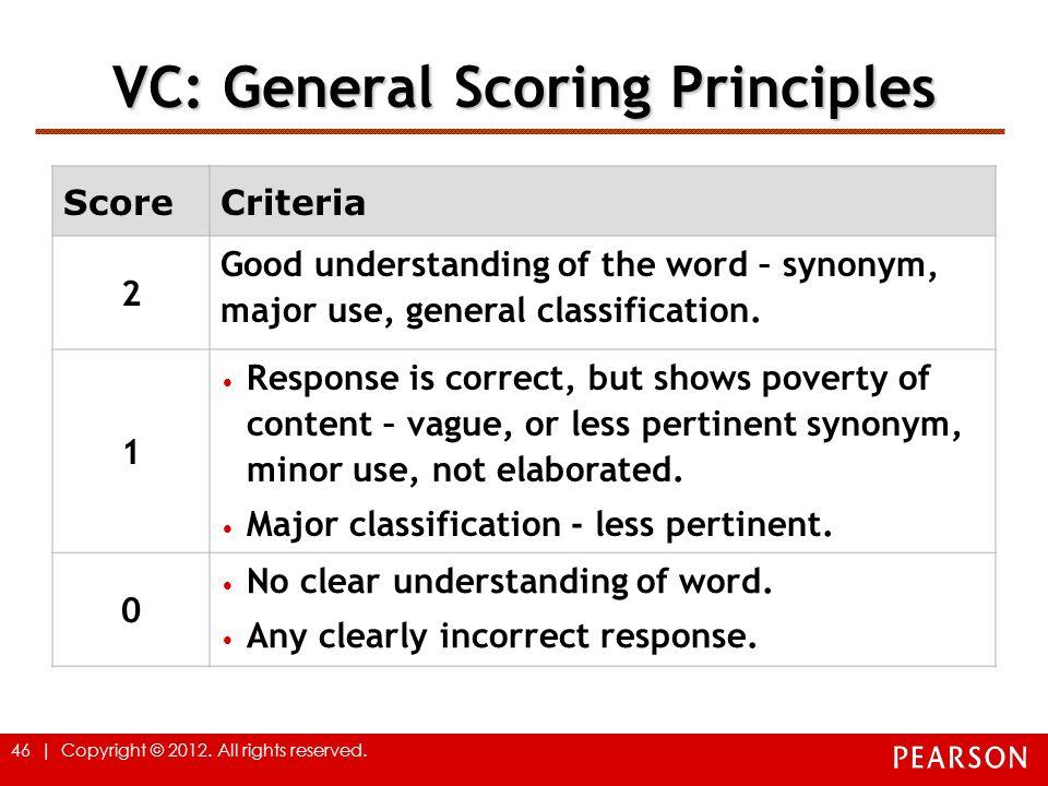 VC: General Scoring Principles