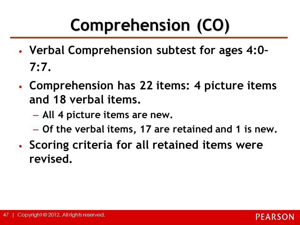 Comprehension (CO) Verbal Comprehension subtest for ages 4:0–7:7.