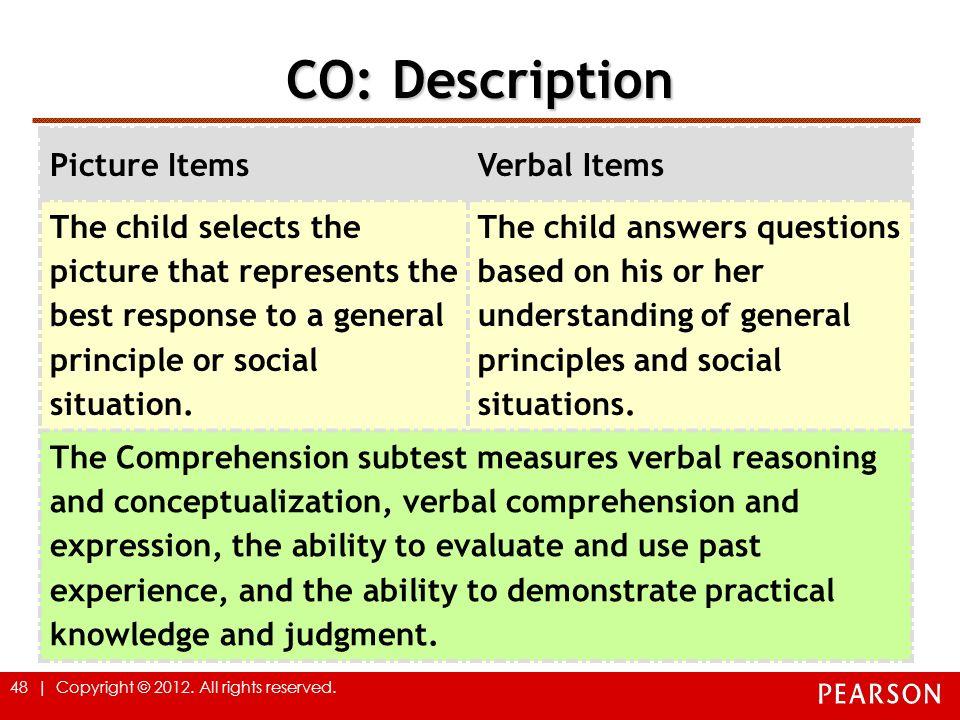 CO: Description Picture Items Verbal Items