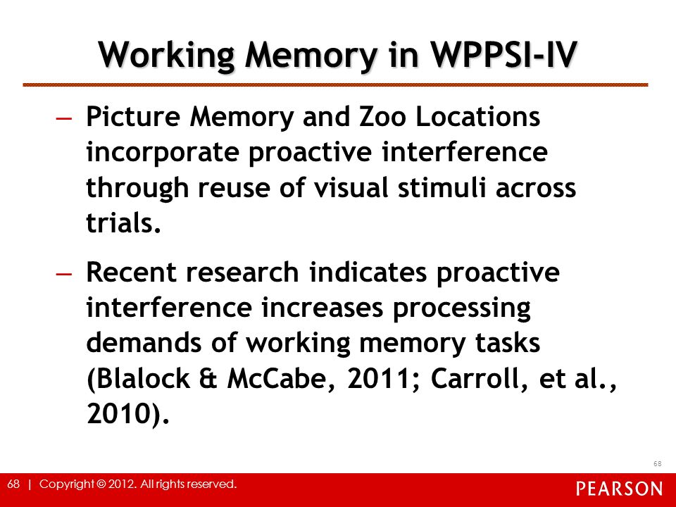 Working Memory in WPPSI-IV