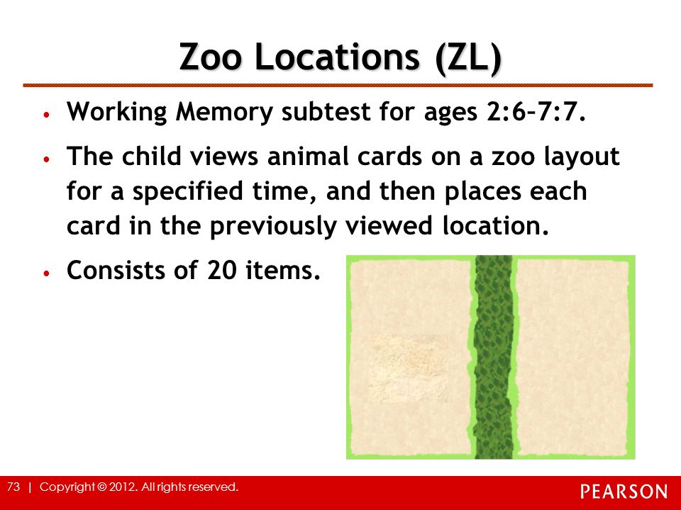 Zoo Locations (ZL) Working Memory subtest for ages 2:6–7:7.