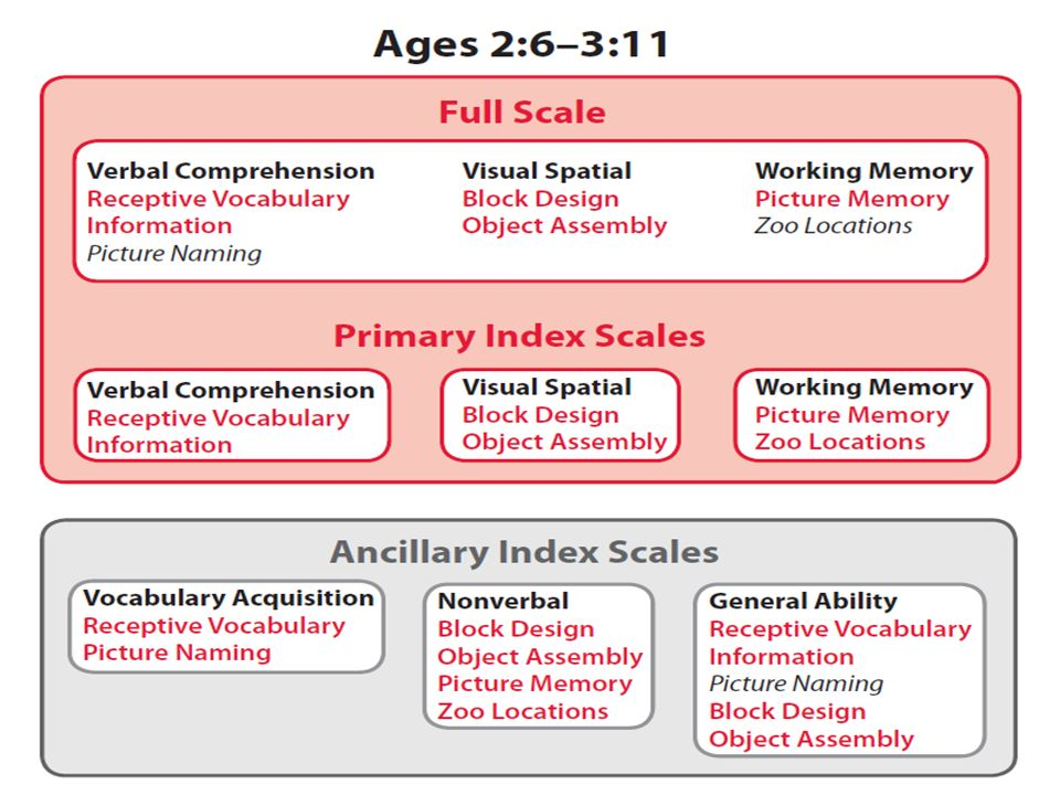 There are six core subtests at the primary index scale level