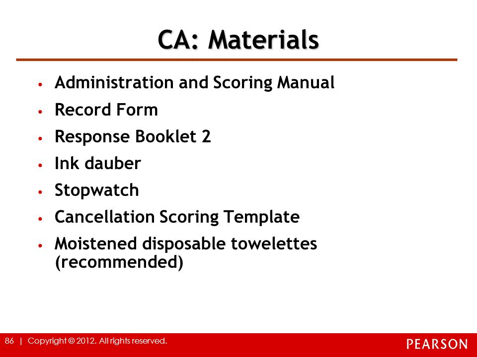 CA: Materials Administration and Scoring Manual Record Form