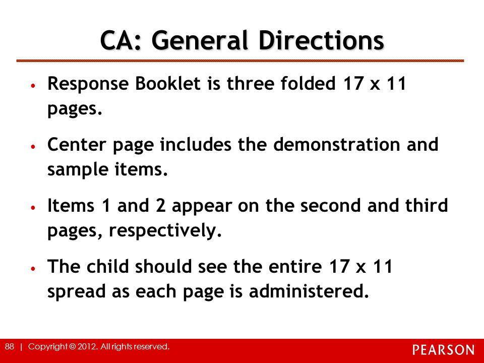 CA: General Directions