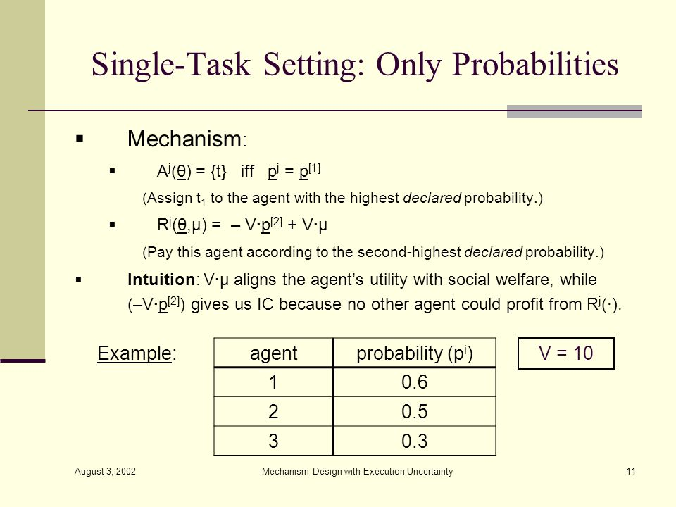 Single-Task Setting: Only Probabilities