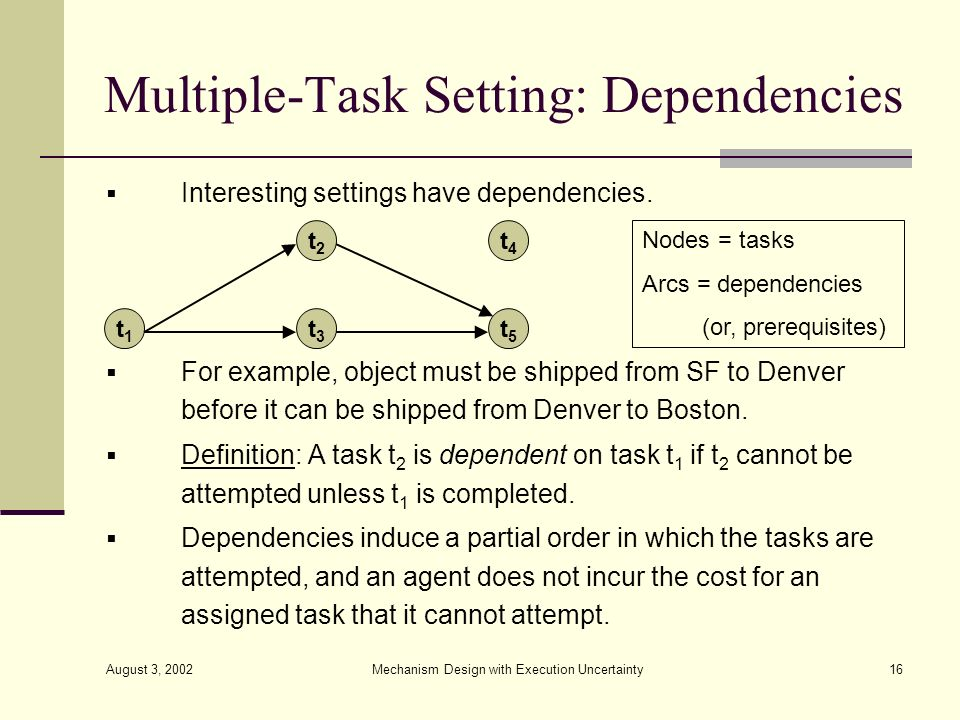 Multiple-Task Setting: Dependencies