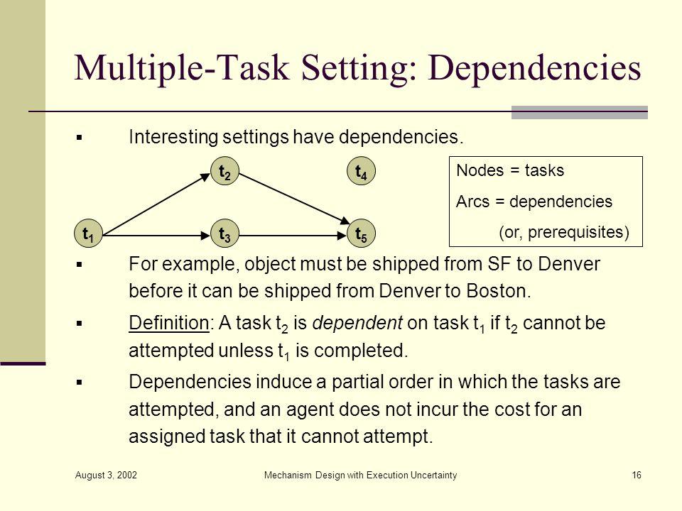 Multiple-Task Setting: Dependencies