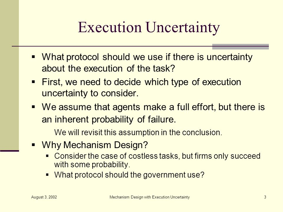 Execution Uncertainty