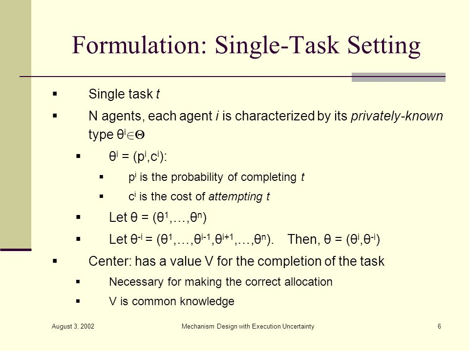 Formulation: Single-Task Setting