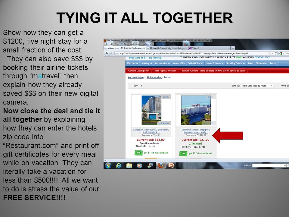 TYING IT ALL TOGETHERShow how they can get a $1200, five night stay for a small fraction of the cost.
