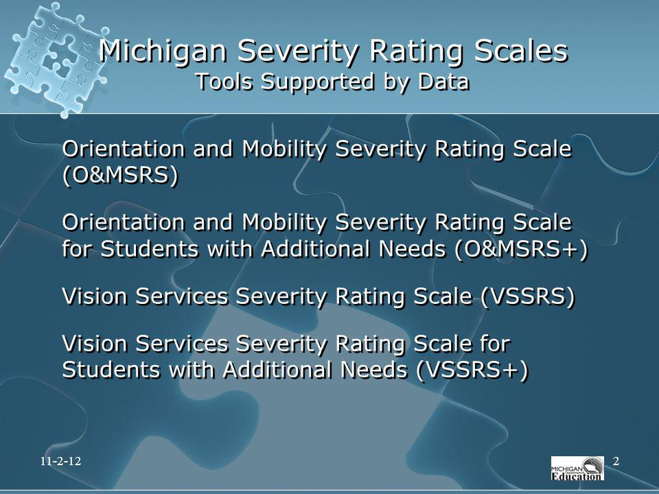 Michigan Severity Rating Scales Tools Supported by Data