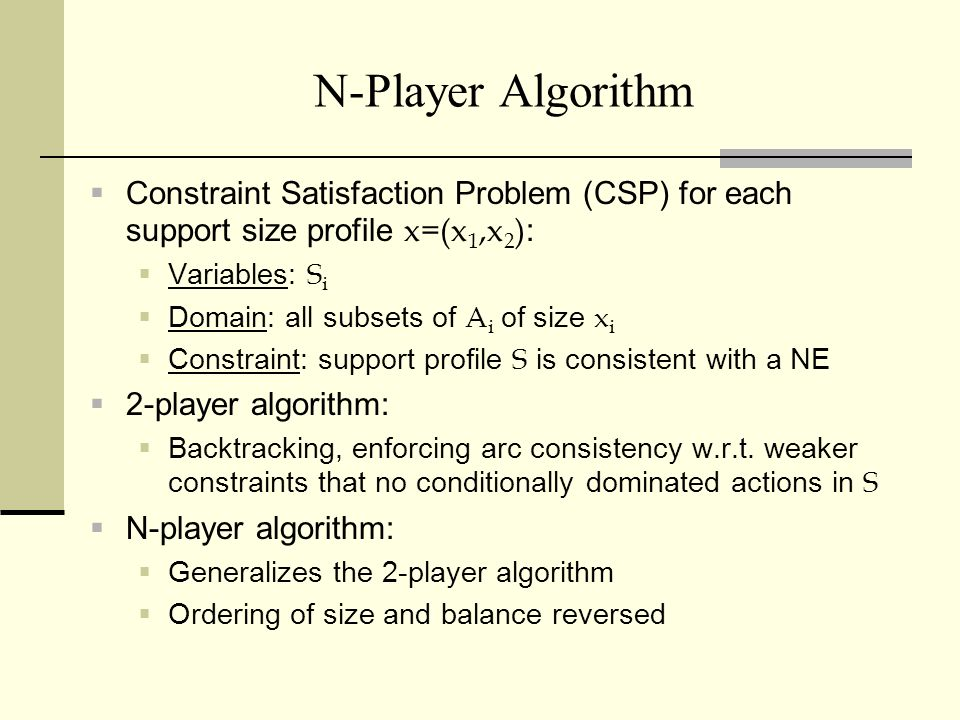 3/25/2017 N-Player Algorithm. Constraint Satisfaction Problem (CSP) for each support size profile x=(x1,x2):