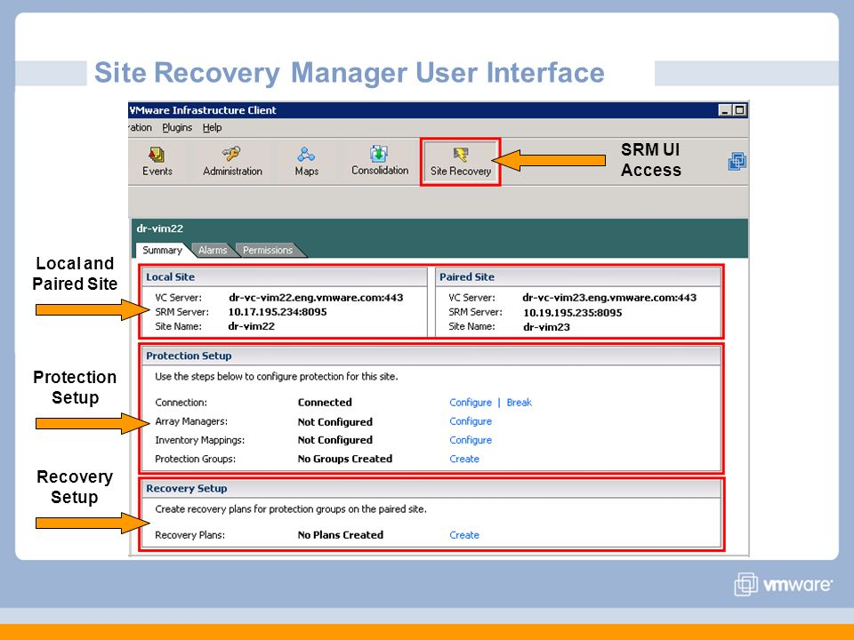 Site Recovery Manager User Interface