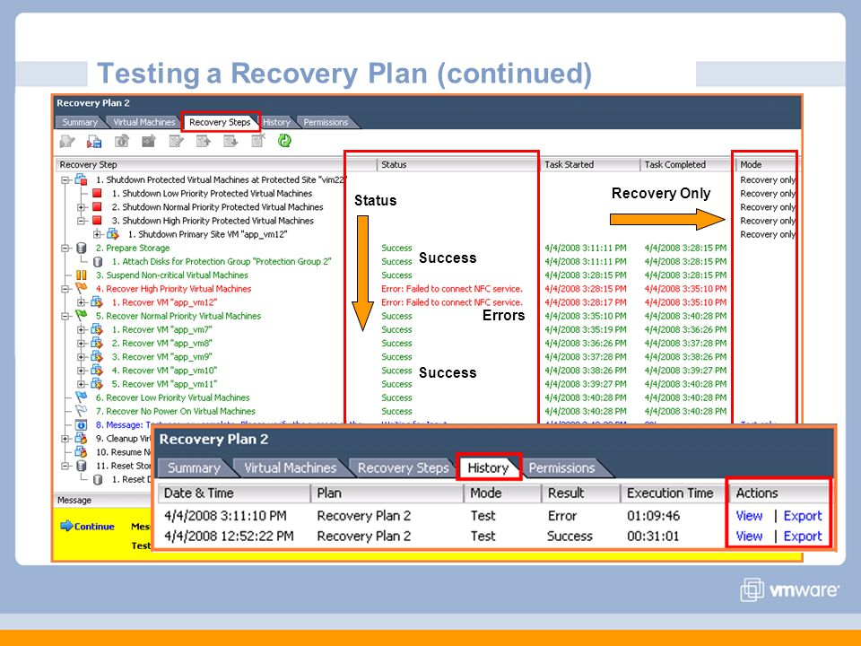 Testing a Recovery Plan (continued)