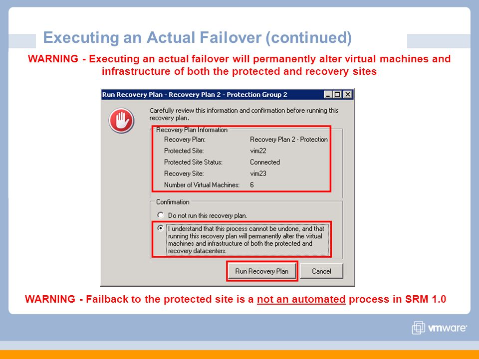 Executing an Actual Failover (continued)