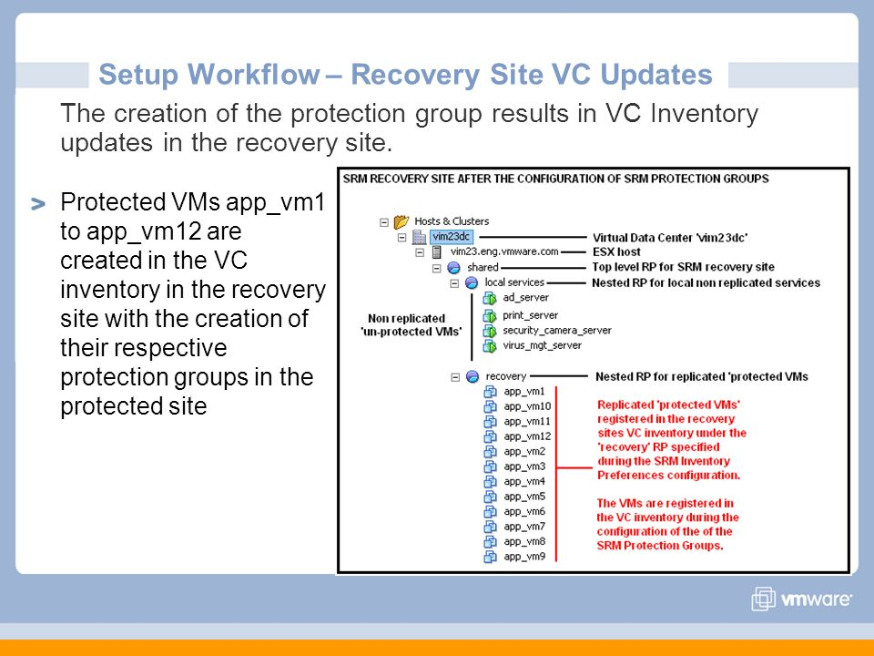 Setup Workflow – Recovery Site VC Updates