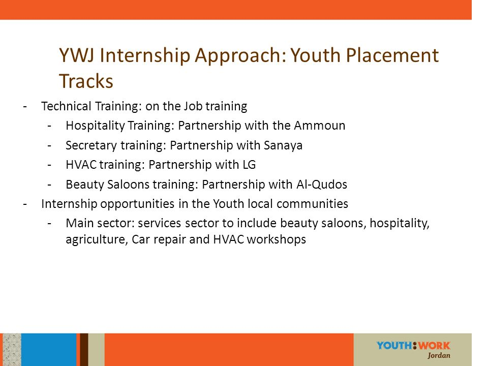YWJ Internship Approach: Youth Placement Tracks