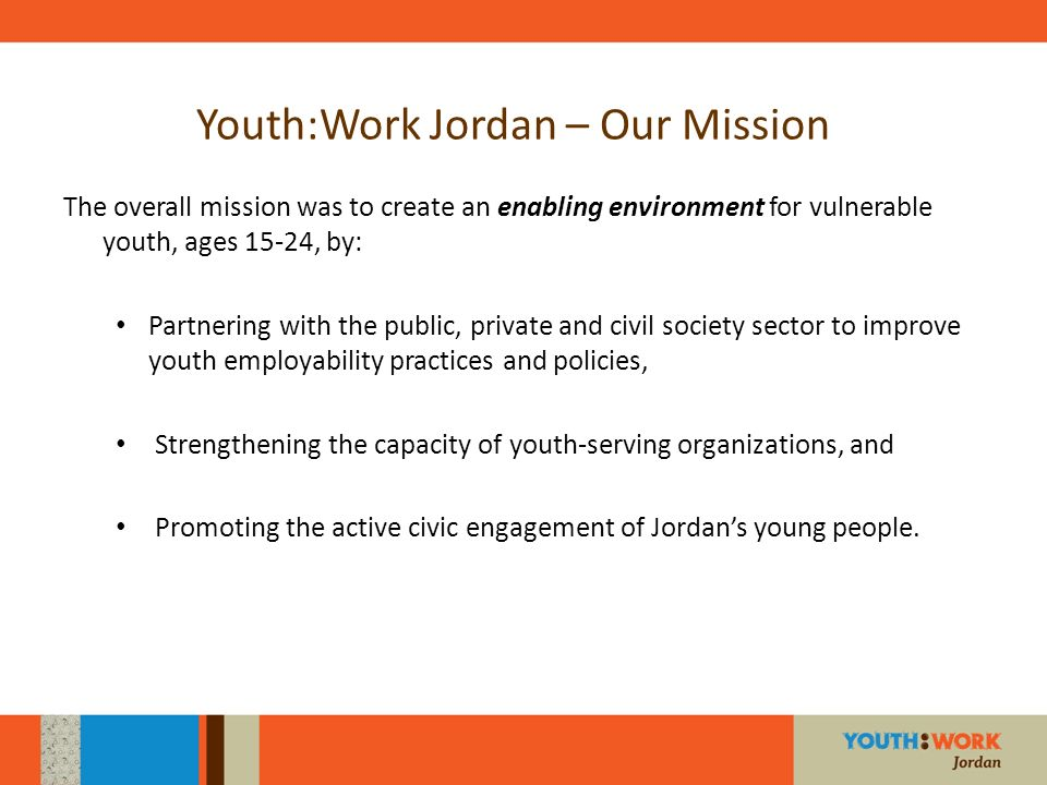 Youth:Work Jordan – Our Mission