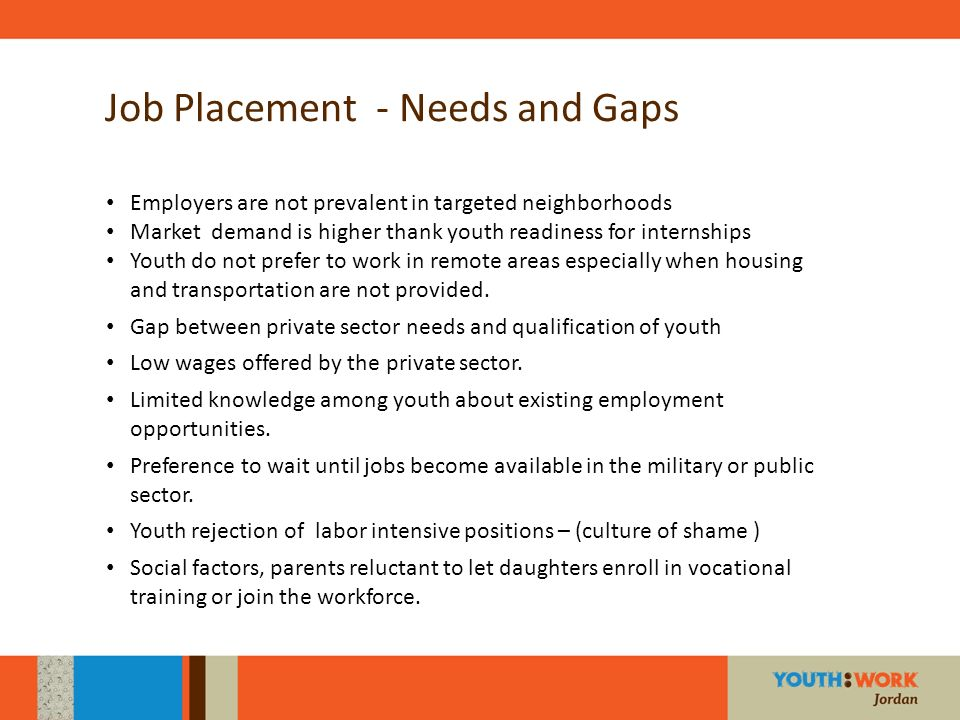 Job Placement - Needs and Gaps