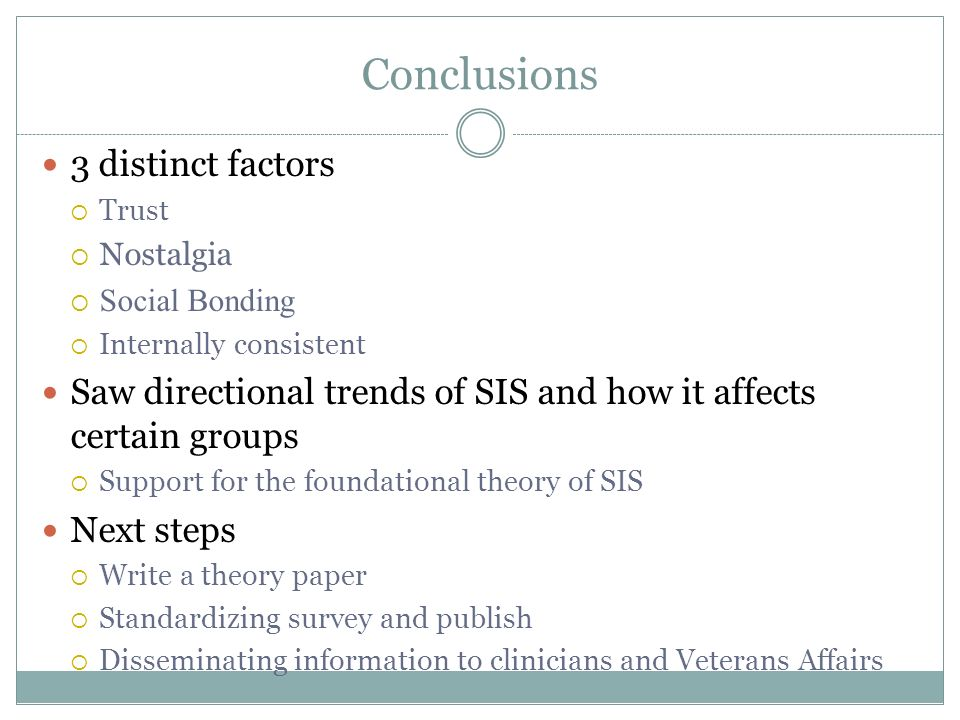Conclusions 3 distinct factors