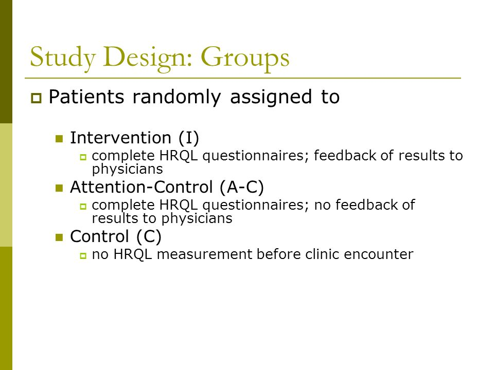 Study Design: Groups Patients randomly assigned to Intervention (I)