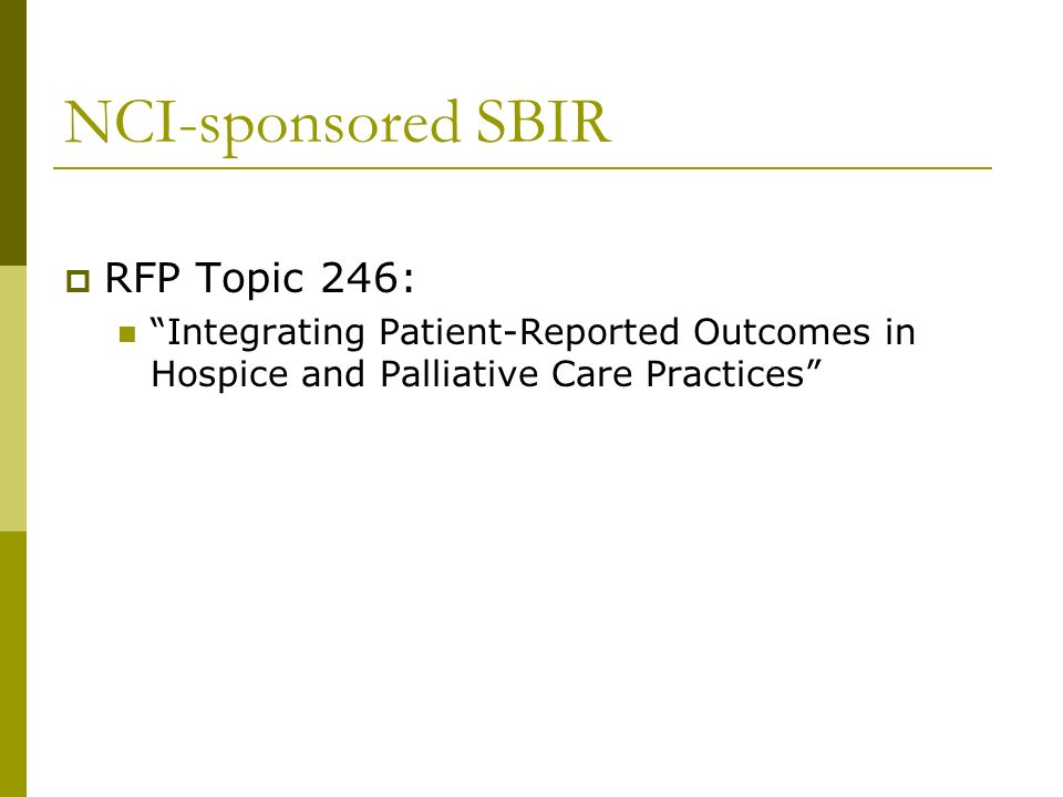 NCI-sponsored SBIR RFP Topic 246: