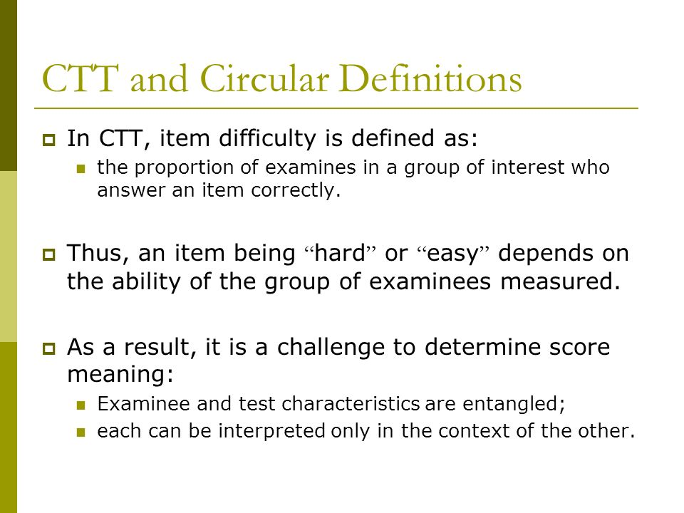 CTT and Circular Definitions