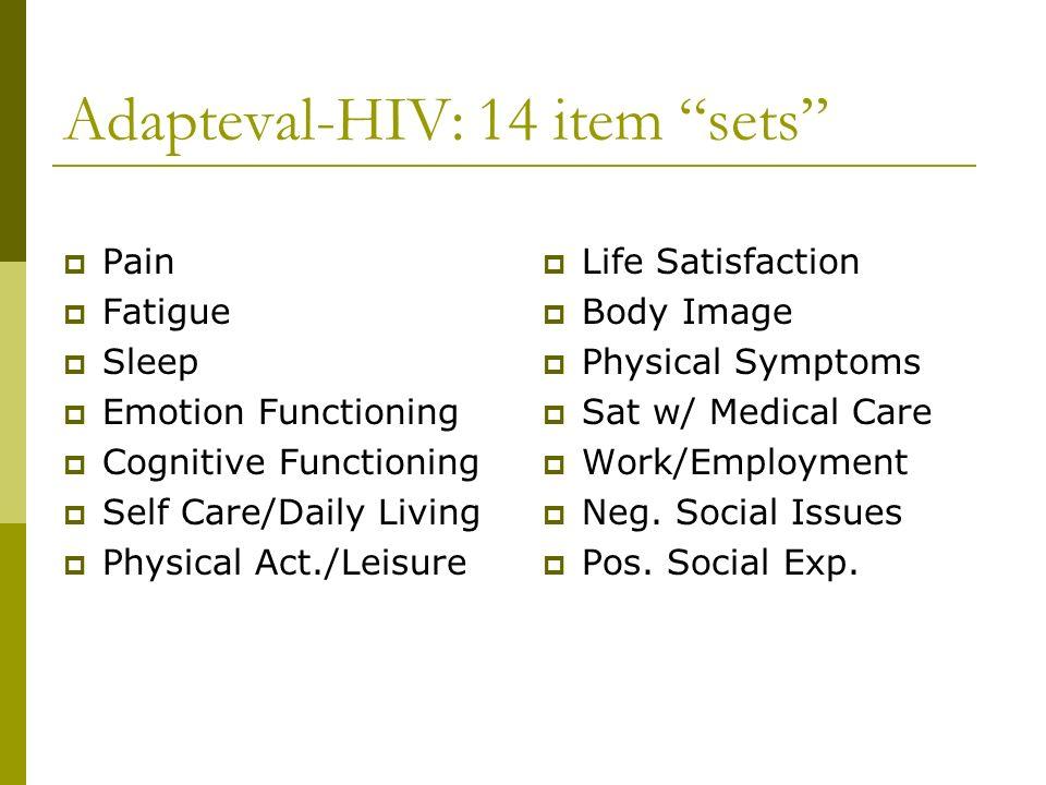 Adapteval-HIV: 14 item sets
