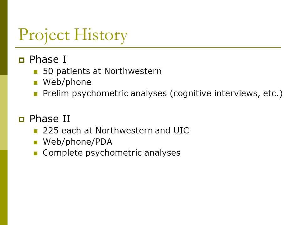 Project History Phase I Phase II 50 patients at Northwestern Web/phone