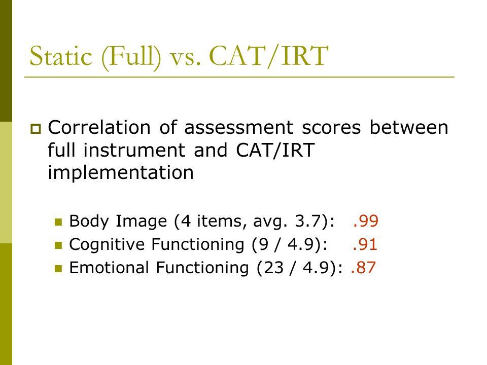 Static (Full) vs. CAT/IRT