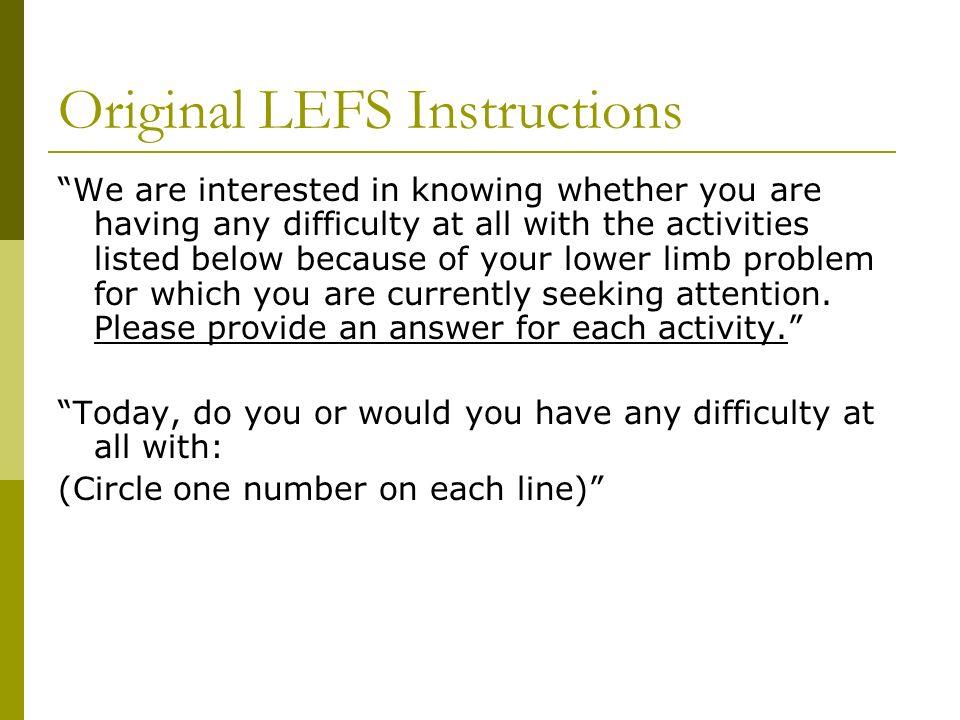 Original LEFS Instructions