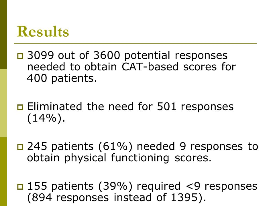 Results 3099 out of 3600 potential responses needed to obtain CAT-based scores for 400 patients. Eliminated the need for 501 responses (14%).