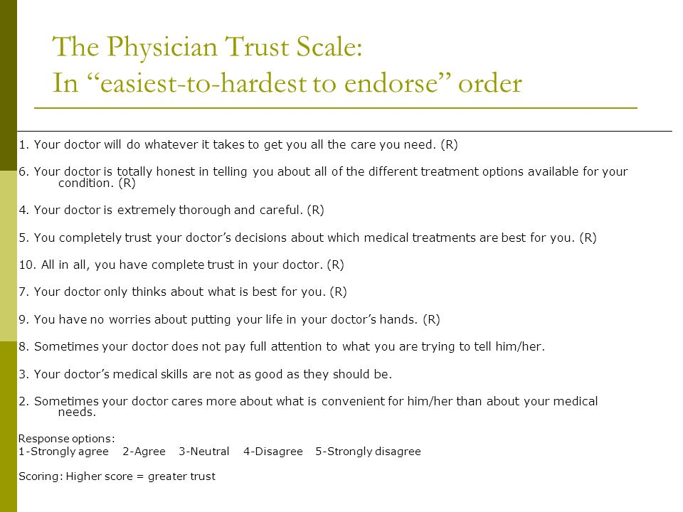 The Physician Trust Scale: In easiest-to-hardest to endorse order