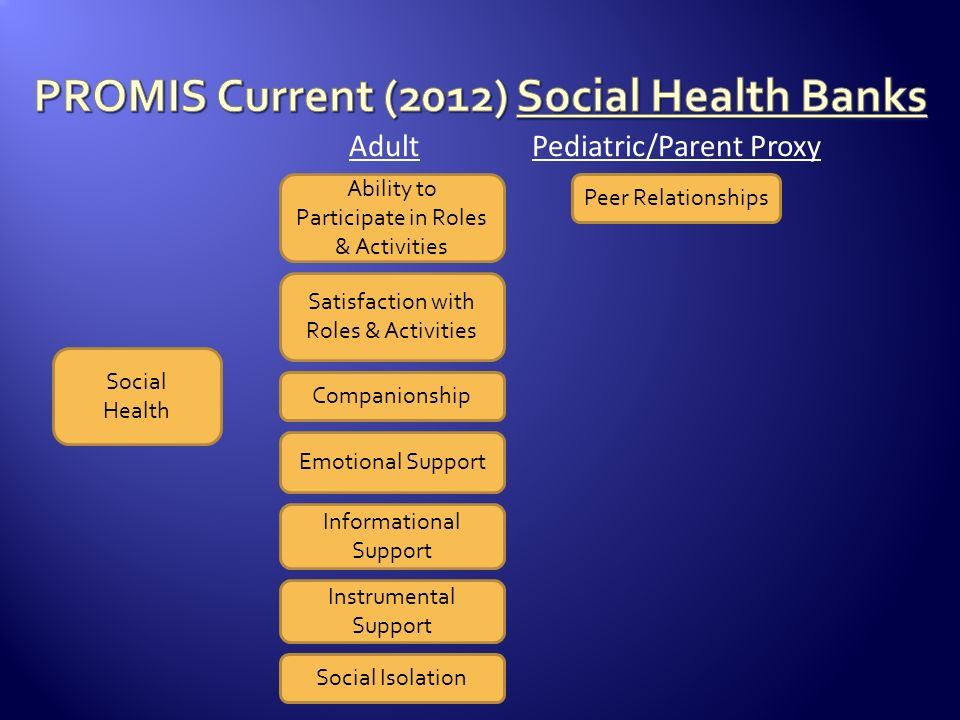 PROMIS Current (2012) Social Health Banks