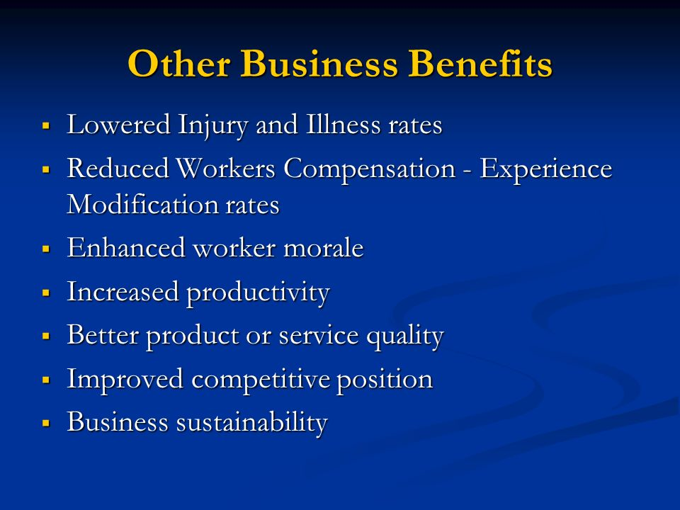 Other Business Benefits