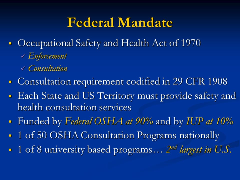 Federal Mandate Occupational Safety and Health Act of 1970